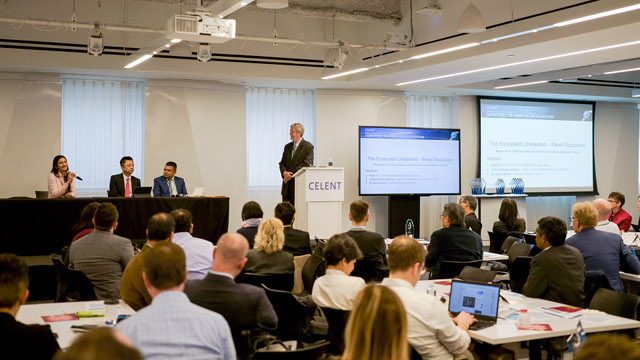 Celent's Tom Scales led a panel on 'The Ecosystem Unleashed'.