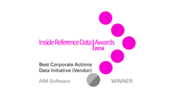 "AIM Software wins Inside Reference Data Award for ""Best Corporate Actions Data Initiative"" 