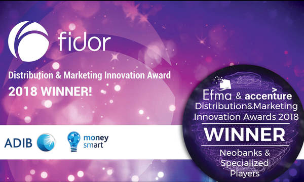 "Fidor Solutions wins Gold Award for ""Best Neobank"" on ADIB's moneysmart Digital Community at Efma Accenture Awards 