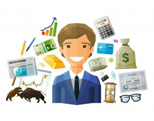 happy businessman and money on a white background. vector. flat illustration